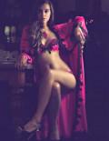 IRRÉSISTIBLE Bra Set with lace applique long robe